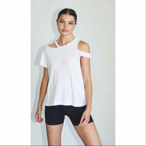 LNA White Cut Out Sleeve Basic Martin T-Shirt